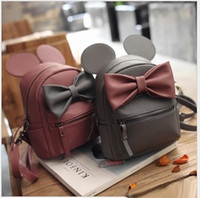 backpack design - 2017 New Korean Style Girls Backpack Fashion Girl Cartoon Mickey Design Backpacks Cute Girls Big Bowknot Bags With Ear Colors