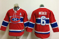 Wholesale New Kids Hockey Jerseys Canadiens Weber Jersey A Patch New Red Color Youth Jersey Size S M L XL Mix Order Stitched All Jerseys