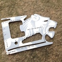 Wholesale Tiger Shaped Multi Function Credit Card Knife Outdoor Camping Multi Tool Card Pocket Tool Survival Gear TOOL AA59