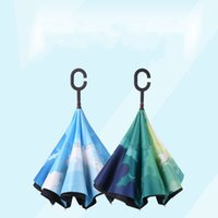 automatic form - Reverse Inverted Umbrella Folding Double Layer Business For Men And Women Windproof Free Form Originality Straight Rod Umbrella zx