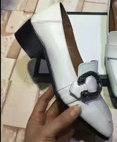 b g pumps - TOP QUALITY u713 genuine leather buckle ways slides med heels mules shoes work fashion g white black