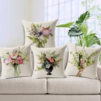 Wholesale 1 Cotton Linen Square Vintage Flower Bouquet Design Throw Pillow Case Decorative Cushion Cover Pillowcase