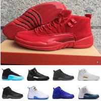 [With Box] hombres de salto de aire de alta calidad de Nen retro 12 GS barones ciervos rojos de nylon todos los zapatos de baloncesto de los hombres rojos retro 12s mujeres zapatillas de deporte 5 EE.UU. 36-47