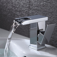 Wholesale LED color changing faucet Polished Chrome LED Waterfall Spout Bathroom Basin Faucet Modern Square Sink Mixer Tap
