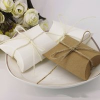 Candy Box bamboo cardboard - Kraft Pillow Shaped Cardboard Box Candy Box Baby shower Party Gifts Wrapping Craft Packing wedding Party Decoration