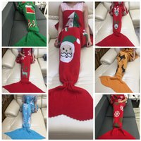 Wholesale Mermaid Tail Blanket Christmas Snowflake Sleeping Bags Handmade Crocheted Blankets Santa Claus Elk Blanket Air Condition Sofa Blankets