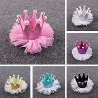 Wholesale Cute Newborn Baby Kids Girls Lace Crown Pearl Princess Hairpin Hair Clip Headdress Birthday Christmas Hair Accessories