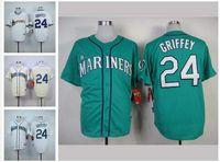 Wholesale 24 Ken Griffey Jr Jersey Seattle Mariners Jerseys Cool Base Jersey Cheap Baseball Sport Jersey Color White Blue Green Cream