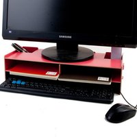 Wholesale YUMU LCD Computer Monitors Stand Increased Double decker Desktop Laptop Keyboard Base Support Bracket Increased Wooden Frame Chassis