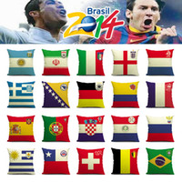 100% Polyester bedding world - 2014 World Cup National Flag Cushion Covers Linen Germany Brazil Russian Flags Decorative Football Nation Team Pillowcase for Sofa Bed Seat