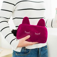 PVC animal pouches - New Arrive Portable Cartoon Cat Coin Storage Case Travel Makeup Flannel Pouch Cosmetic Bag JF