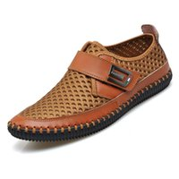 Wholesale 2017 Summer Loafers Slip on Classic Men Genuine Leather Fashion Casual Shoes Water Flat Shoe Boat Man Spring Sneaker