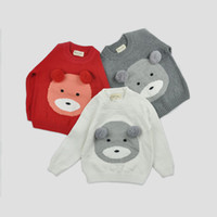 Wholesale boys and girls pullover sweater with bear pattern and ball top natural cotton knitting cardigans for kids T T red white gray