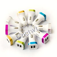Wholesale Colorful Mini square Cigarett Micro auto power Adapter Dual USB Car Charger A for Phone s plus samsung s7