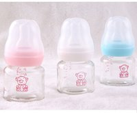 baby juice cup - Cute Baby Glass Bottle W Brush Infant Newborn Cup Children Learn Feeding Drinking Bottle kids Straw Juice water Bottles ml