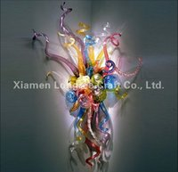 Wholesale Modern Custom Made Decorative Chihuly Style Colorful Hand Blown Glass Shade Hotel Wall Lamp with LED Bulbs