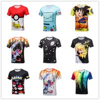 Acrylic acrylic paint shirt - The new spring and summer cartoon animal painted wolf dragon watercolor graffiti printing male fashion T shirt