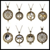 Wholesale Magnifying Glass Pendant Locket Statement Necklace and Hollow Retro Watch Pocket Stainless Steel Jewelry Cheap N0330