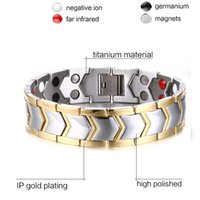 Wholesale New Product MM Titanium Steel Gold Bracelet With Male Type Of Europe Type Double Row Between Health Care Stone Bracelet