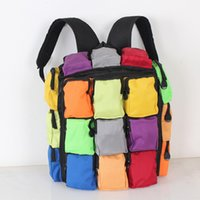 Wholesale Fashion Magic Cube Backpack Rainbow Color Women Men Travel Shoulder Bags Multifunction Rucksack Mochilas with Multi Pockets