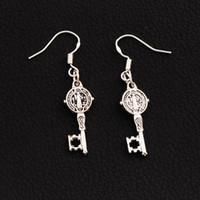Dangle & Chandelier antique key hooks - 50Pairs Antique Silver Saint Benedict Medal Cross Smqlivb Key Earrings Silver Fish Ear Hook Chandelier E1687 X9 mm