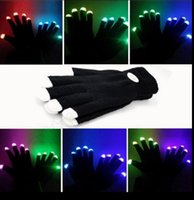 Wholesale LED Flash Gloves mode light up Ghost Dance Black Bar Stage Performance colorful Rave Light Finger Lighting Gloves Glow Flashing OOA291