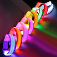 Wholesale LED Wrist Band Flashing Running Bracelet Lights Flash Glowing Arm Cuff Cycling Walking Running Armband Led Nylon UP Safety Wristband