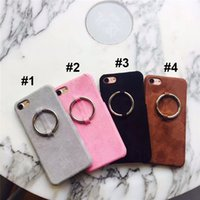apple scrubs - For IPhone s Plus Case fashion metal ring pendant solid scrub short plush PC shell with opp package