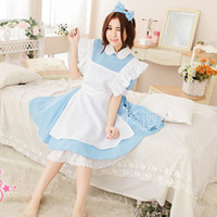 alice blue fancy dress - Japanese Cosplay Fancy Girls Alice In Wonderland Fantasy Blue Light Tone Lolita Maid Outfit Maid Costume Maid Dresses with Apron