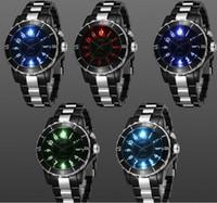 Unisex analog alarm watch - LED Lumnious Wristwatch Waterproof Men Ladies Colorful Light Black White Date Alarm Sports Quartz Watches Fashion Analog Stop Watch Gift Box