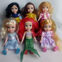 baby sound animators - New Animators Sharon Dolls Princess doll with box Snow White Ariel Rapunzel Cinderella Aurora Belle dolls for girls Baby Toys