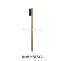 Wholesale Black soft bristles flat bamboo handle adult toothbrush