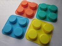 10 pc / lotto 100% stampi 4 fori da forno in silicone per dolci, stampi di sapone FDA + free