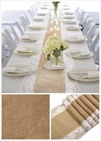 Wholesale natural burlap hessian lace edge banquet wedding table runner cloth overlay linens linen table cloth