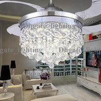 Wholesale Invisible Crystal Light Ceiling Fans Modern LED crystal lamp Indoor parlor Ceiling Fans Crystal Pedant Light remote control Control