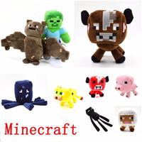 al por mayor animales disecados minecraft-Nuevos juguetes de peluche de Minecraft Enderman Ocelot cerdo de ovejas Bat Mooshroom Squid Spider Wolf animal muñecos de peluche relleno niños juguete regalo