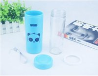 Wholesale Hot double plastic outer and glass inner cup with lid creative portable insulation resistance insulation cup with leak proof easy carry cup