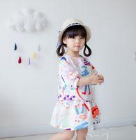 Summer baby white lips - 2017 Children Girls Rose Lip Printed Half Sleeve Cartoon Shirt Skirt Outfits Baby Girls Puff Cute Dress Set B4500