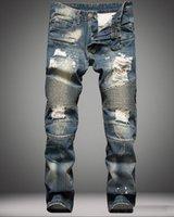 Wholesale 2016 Balmain fashion brand for men ripped holes jeans frayed destroyed Slim Retro denim biker casual pants hip hop swag overalls