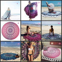 Wholesale Round Mandala Beach Towels Printed Tapestry Hippy Boho Tablecloth Bohemian Serviette Covers Beach Towel Shawl Wrap Yoga Mat LD17 DHL FREE