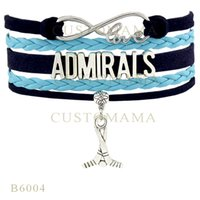 admiral blue - Custom Infinity Love Admirals Hockey Metal Charm Team Bracelets Christmas Gifts Bracelet Black Blue Leather Custom Womens Bracelets