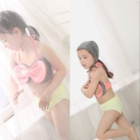 baby bath suit - 2017 New Summer Two Pieces Girls Baby Swimsuit With Bow Halter Beach Children Girls Summer Bath Suit MC0566