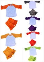 baby teenager - Baby girls cotton four seasons icing mixed colors ruffle sets kids teenager unisex loose ruffle cuff shirt ruffle short pants sets