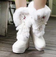 animations dark brown - Winter Recreation Rhinestone PU Really Comfortable and Warm Rabbit Fur Lace up Breathable Round Toe Flat Women Boots