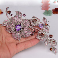 Middle Eastern women's flower dress - Gorgeous Purple Zirconia Dangle Flower Brooch Pin Rhinestone Crystal Large Brooch Corsage Wedding Party Dress Accessory with box