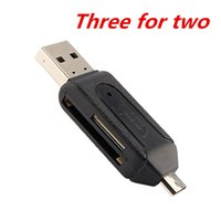 Wholesale For Smartphone Computer in USB OTG Card Reader Micro USB OTG TF SD Card Reader Phone Extension Headers Flash Drive Adapter