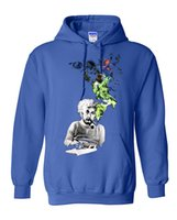 albert black - Mens Cotton Long sleeves Albert Einstein Smoking Hoodies Sweatshirt