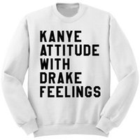 attitude t shirts - hot winter KANYE ATTITUDE WITH long sleeved T shirt with cashmere hoodies printed from simple comfortable WHITE XK09