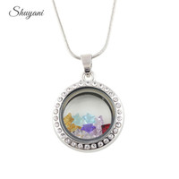 Wholesale Round Shape Locket Necklace with Star Birthstone Alloy Floating Locket Pendant with Free Chain Mix Colors Crystal mm