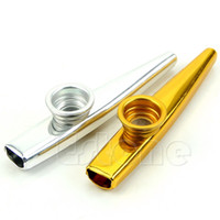 Wholesale Musical Accessories Metal Kazoo Mouth Flute Harmonica Kids Party Gift Kid Golden Musical Instrument